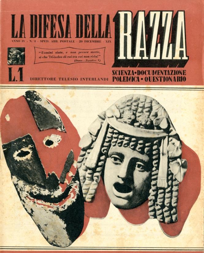 """La copertina de """"La Difesa della Razza"""" del 20 dicembre 1940"""
